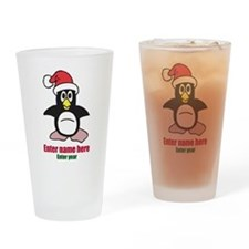 Personalized Christmas Penguin Drinking Glass