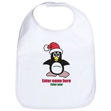 Personalized Christmas Penguin Bib