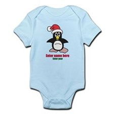 Personalized Christmas Penguin Infant Bodysuit