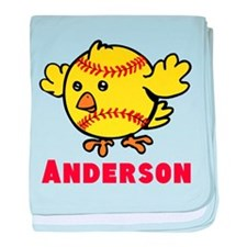 Personalized Softball Chick baby blanket