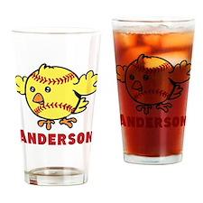 Personalized Softball Chick Drinking Glass