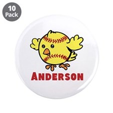 "Personalized Softball Chick 3.5"" Button (10 pack)"