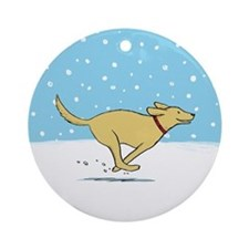 Labrador Snow Holiday Ornament (Round)