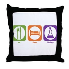Eat Sleep Biology Throw Pillow