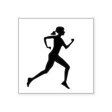 """runner girl Square Sticker 3"""" x 3"""""""
