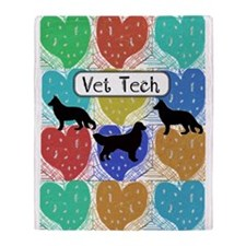 vet tech 2 hearts.PNG Throw Blanket