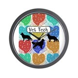 vet tech 2 hearts.PNG Wall Clock