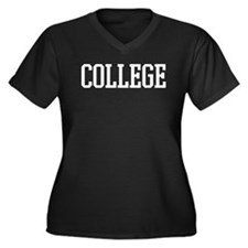 College Women's Plus Size V-Neck Dark T-Shirt