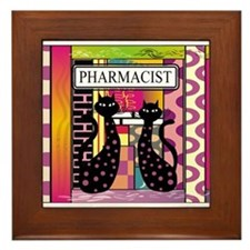 pharmacist black cat TOTE CP.PNG Framed Tile