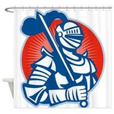 Knight Full Armor With Sword Retro Shower Curtain
