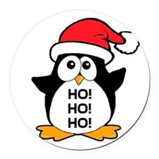 Cute Christmas Penguin Round Car Magnet