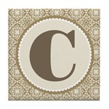 Monogram Letter C Tile Coaster
