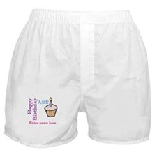 Personalized Birthday Cupcake Boxer Shorts