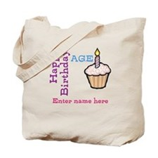 Personalized Birthday Cupcake Tote Bag