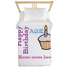 Personalized Birthday Cupcake Twin Duvet