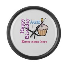 Personalized Birthday Cupcake Large Wall Clock