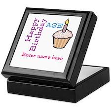 Personalized Birthday Cupcake Keepsake Box
