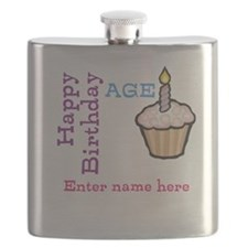 Personalized Birthday Cupcake Flask