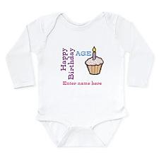 Personalized Birthday Cupcake Onesie Romper Suit