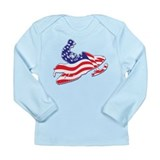 Patriotic Snowmobiler/USA Fla Long Sleeve Infant T