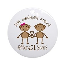 61st Anniversary Love Monkeys Ornament (Round)