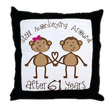 61st Anniversary Love Monkeys Throw Pillow