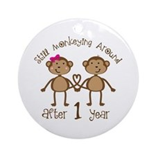 1st Anniversary Love Monkeys Ornament (Round)