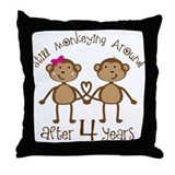 4th Anniversary Love Monkeys Throw Pillow