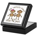 4th Anniversary Love Monkeys Keepsake Box