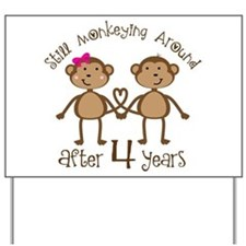 4th Anniversary Love Monkeys Yard Sign