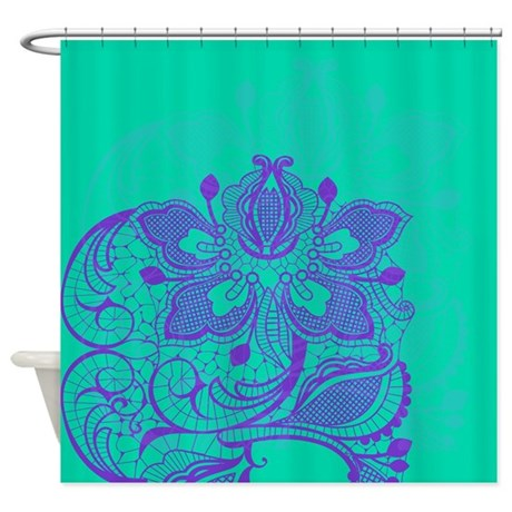 Purple And Teal Lace Shower Curtain By Glamourgirls2