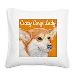 crazycorgi.jpg Square Canvas Pillow