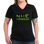 NHE Non Human Entity Women's V-Neck Dark T-Shirt