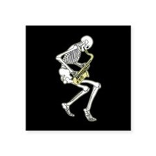 "Skeleton Saxophonist Square Sticker 3"" x 3"""