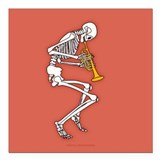 "Trumpeter Skeleton Square Car Magnet 3"" x 3"""
