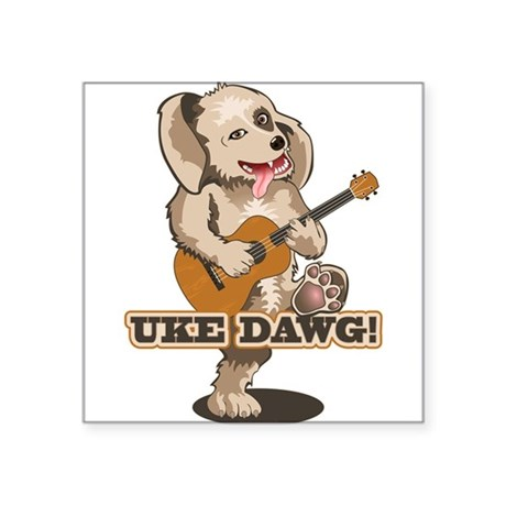 uke-dawg1.png Square Sticker 3&quot; x 3&quot;