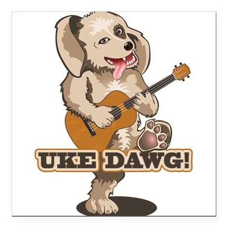 uke-dawg1.png Square Car Magnet 3&quot; x 3&quot;