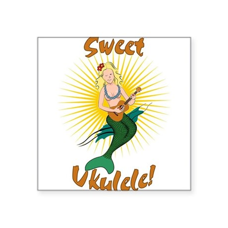 "Ukulele Mermaid Square Sticker 3"" x 3"""