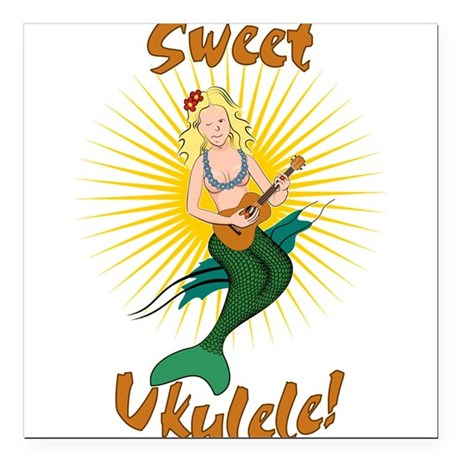 "Ukulele Mermaid Square Car Magnet 3"" x 3"""