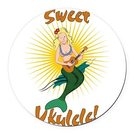 Ukulele Mermaid Round Car Magnet