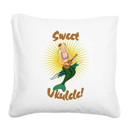 Ukulele Mermaid Square Canvas Pillow