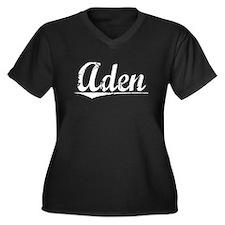 Aden, Vintage Women's Plus Size V-Neck Dark T-Shir