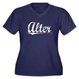 Alter, Vintage Women's Plus Size V-Neck Dark T-Shi