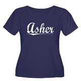 Asher, Vintage Women's Plus Size Scoop Neck Dark T