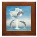 The Heart Of The Dolphins Framed Tile