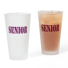 Pink Plaid Pattern Senior Drinking Glass
