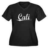 Cali, Vintage Women's Plus Size V-Neck Dark T-Shir