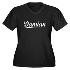 Damian, Vintage Women's Plus Size V-Neck Dark T-Sh