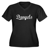 Dangelo, Vintage Women's Plus Size V-Neck Dark T-S