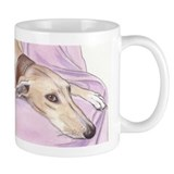Lurcher on sofa Mug